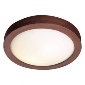 SADDLER circular flush ceiling light with brown leather surround