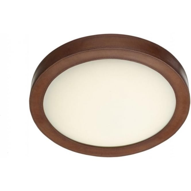 Saddler circular flush led ceiling light with brown leather trim