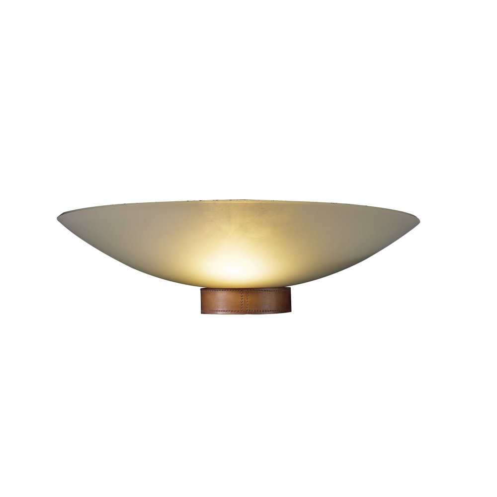 Glass Uplighter Wall Lights : Wall Washer Wall Light Leather Detail Opal Glass Shade Artisan Saddler