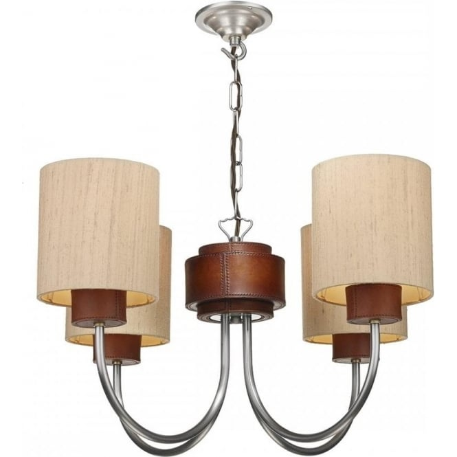 Artisan Lighting SADDLER pewter ceiling light with leather detailing and taupe silk shades