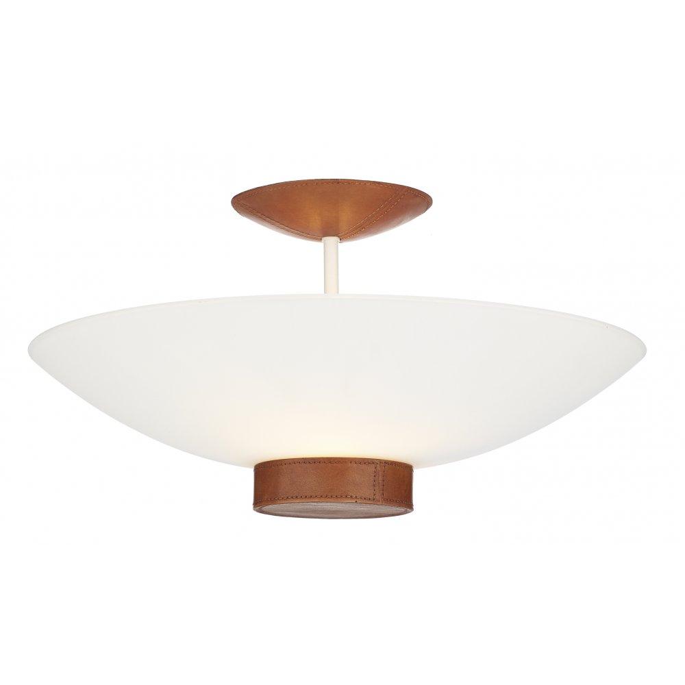 Best Ceiling Light: Ceiling Light Tanned Leather Detail. SADDLER Uplighter For