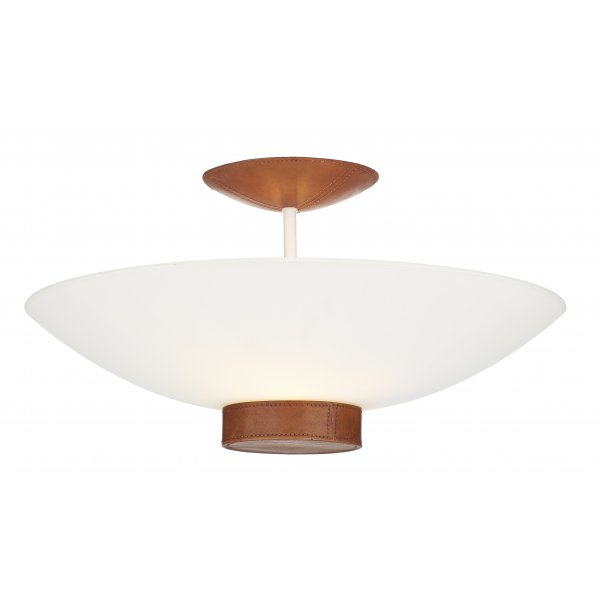 Ceiling Light Tanned Leather Detail SADDLER Uplighter For Low Ceilings
