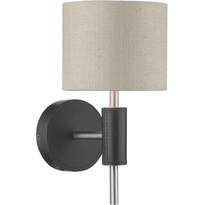 Artisan Lighting SADDLER textured black leather effect wall light with grey silk shade
