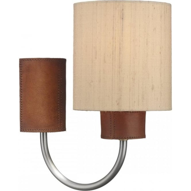 Artisan Lighting SADDLER textured leather effect wall light with taupe silk shade