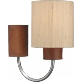 SADDLER textured leather effect wall light with taupe silk shade