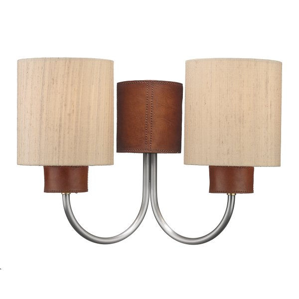 Wall Lights Without Shades : Twin Wall Light with Leather Detail, Pewter Arms and Taupe Silk Shades