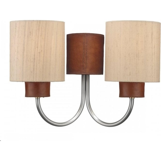 Twin wall light with leather detail pewter arms and taupe silk shades saddler twin wall light leather effect complete with taupe shades aloadofball Images