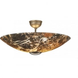 SAVOY dark marble glassuplighter for low ceilings