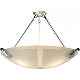 SAVOY large acid etched upligher ceiling light pewter detailing