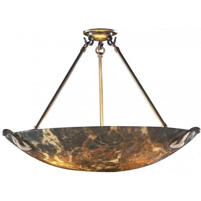 Large savoy marbled glass ceiling uplighter hanging on 3 Artisan glass pendant lights