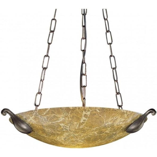Artisan Lighting SAVOY light marble glass ceiling uplighter pendant with bronze detail