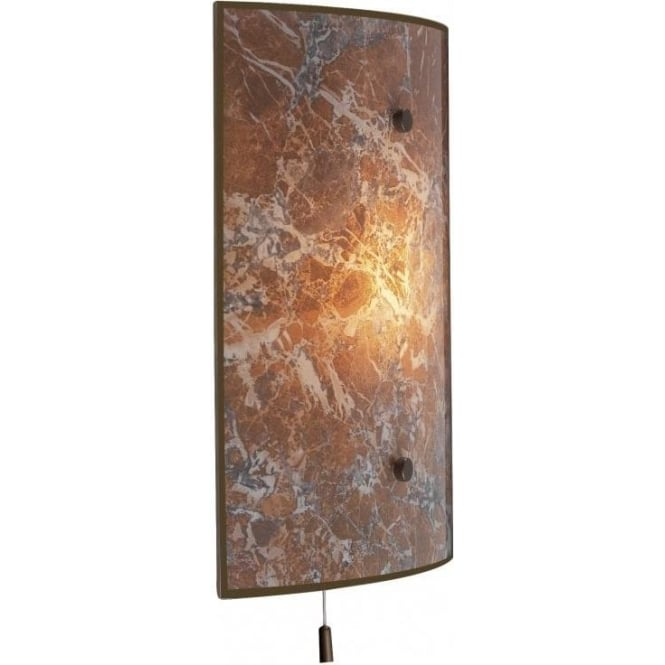 Wall Light Glass Panel : SAVOY Marbled Glass Wall Panel Light with Pull Cord. Elegant Stylish.