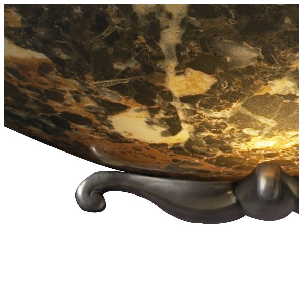 Wall Washer Dark Marbled Stone Effect Glass Uplighter Bronze Detailing