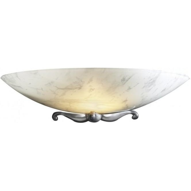 Artisan Lighting SAVOY white marbled glass wall washer with pewter detailing
