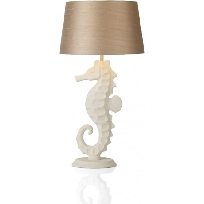 Artisan Lighting SAYER white stone seahorse table lamp with taupe silk shade
