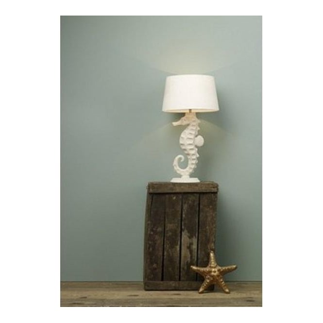 Seahorse Table Lamp with Stone Coloured Base and Taupe Silk Shade