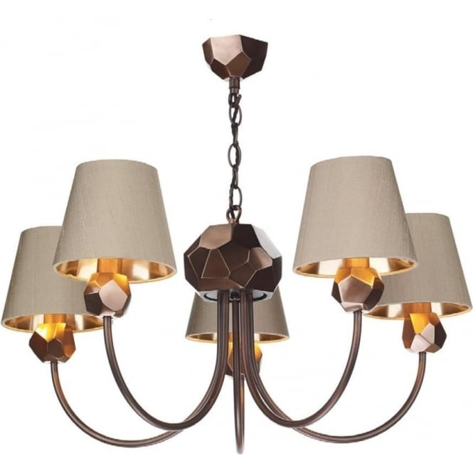 Artisan Lighting SHARD traditional 5 light copper ceiling chandelier with taupe shades