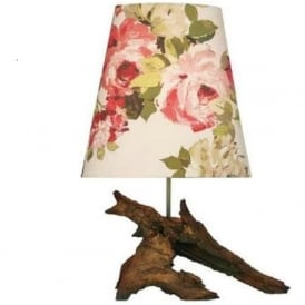 SHERWOOD natural wood effect table lamp with floral pattern shade