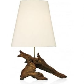 SHERWOOD natural wood effect table lamp with ivory silk shade