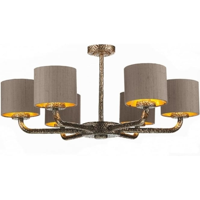 Artisan Lighting SLOANE dual mount 6 arm bronze ceiling light with truffle silk shades