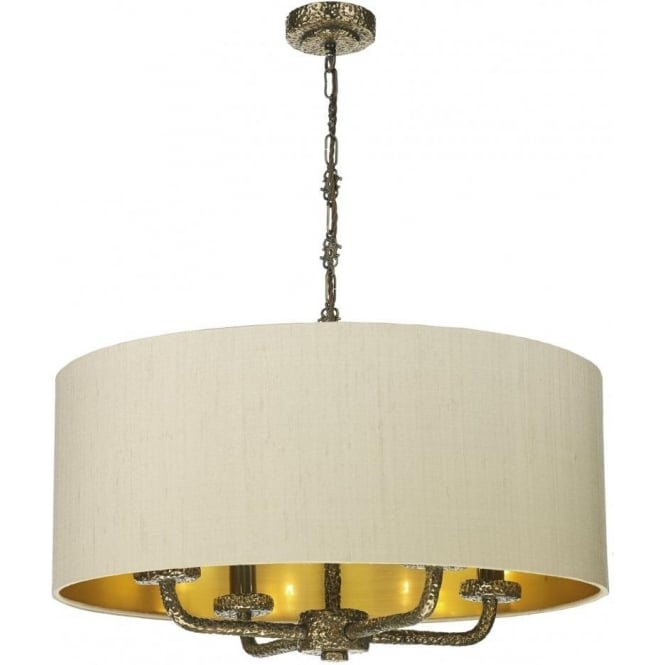 Artisan Lighting SLOANE large hanging bronze ceiling pendant light, taupe silk shade
