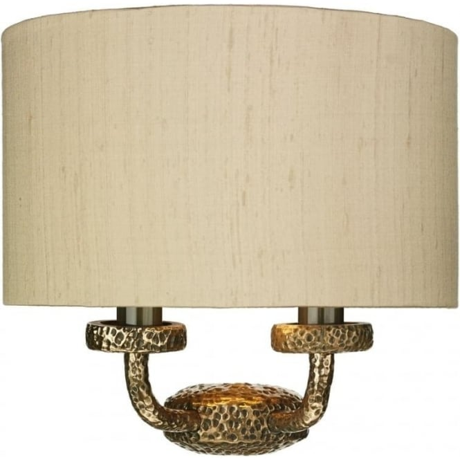David Hunt Lighting SLOANE traditional bronze wall bracket with taupe silk shade