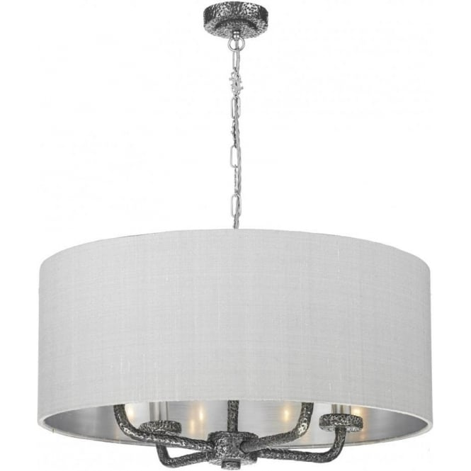 Traditiional large pewter ceiling pendant light with grey silk shade sloane traditional pewter ceiling pendant with drum shade mozeypictures