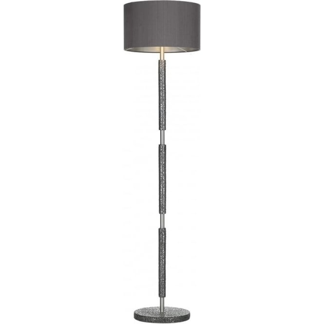 Traditional hammered pewter standard lamp with charcoal silk shade sloane traditional pewter floor lamp with silk shade aloadofball Images
