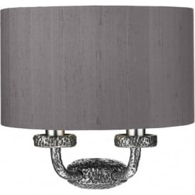 SLOANE traditional pewter wall bracket with silk shade