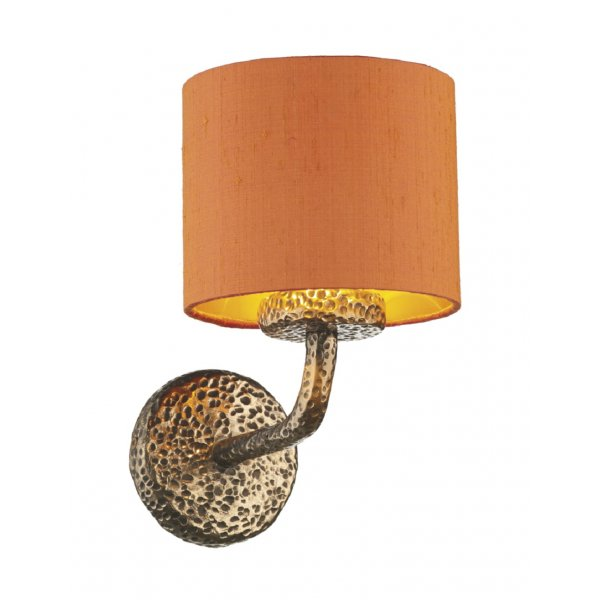 Single Upward Facing Wall Light in Hammered Bronze with Orange Shade