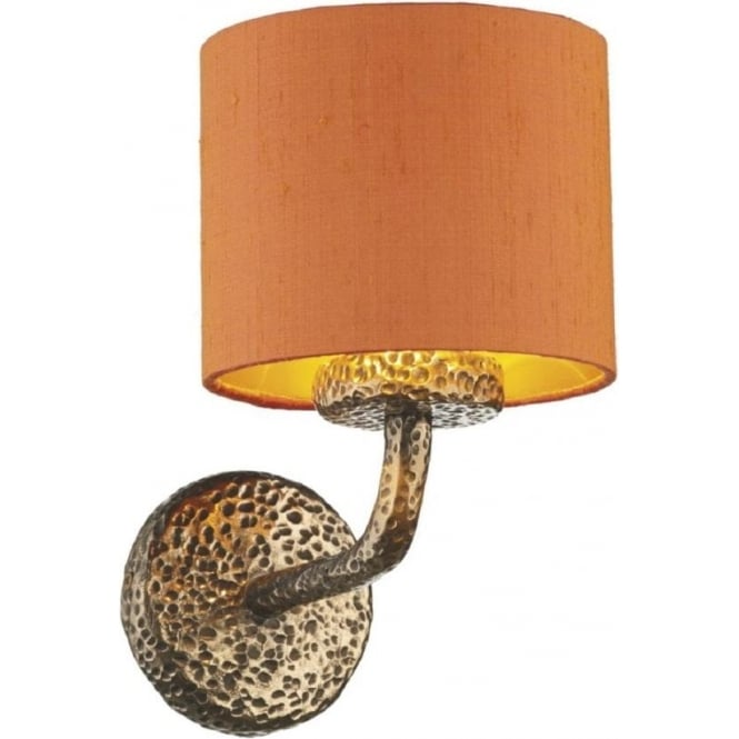 Traditional Bronze Wall Lights : Single Upward Facing Wall Light in Hammered Bronze with Orange Shade
