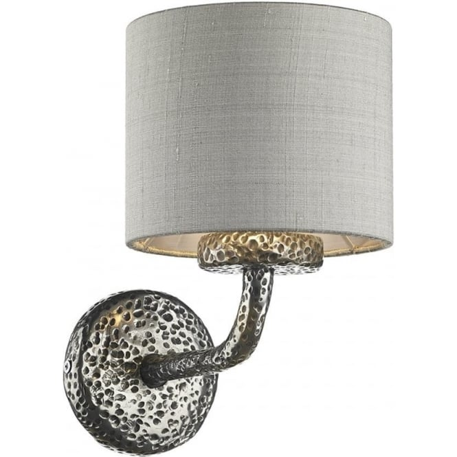 Artisan Lighting SLOANE traditional single pewter wall light with silver grey silk shade