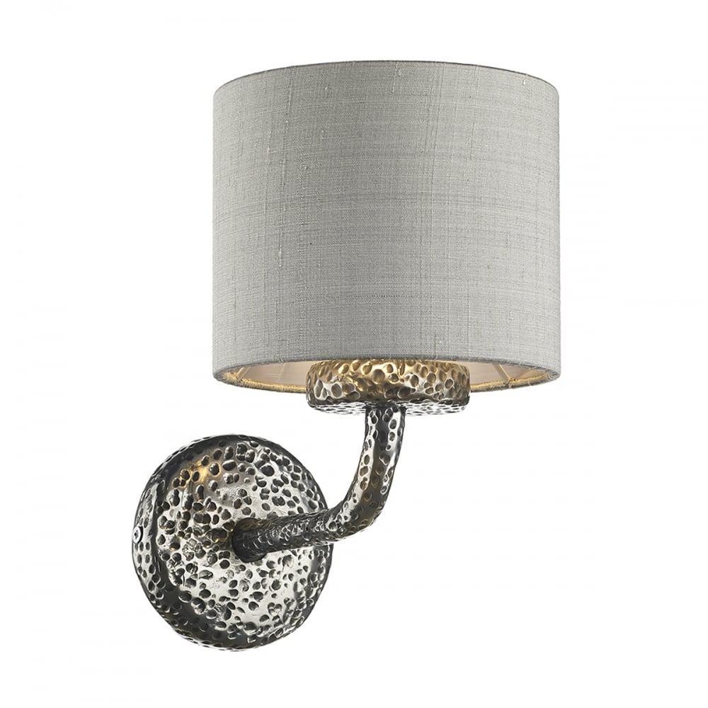 Traditional Hammered Pewter Wall Light with Silver Grey Silk Shade