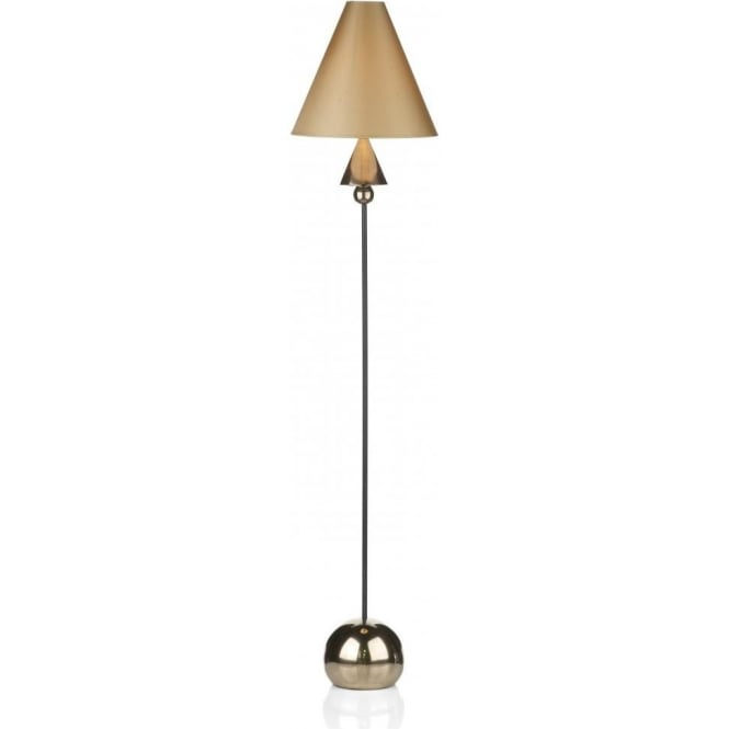 Artisan Lighting SPEARHEAD black & bronze floor lamp with fawn silk shade