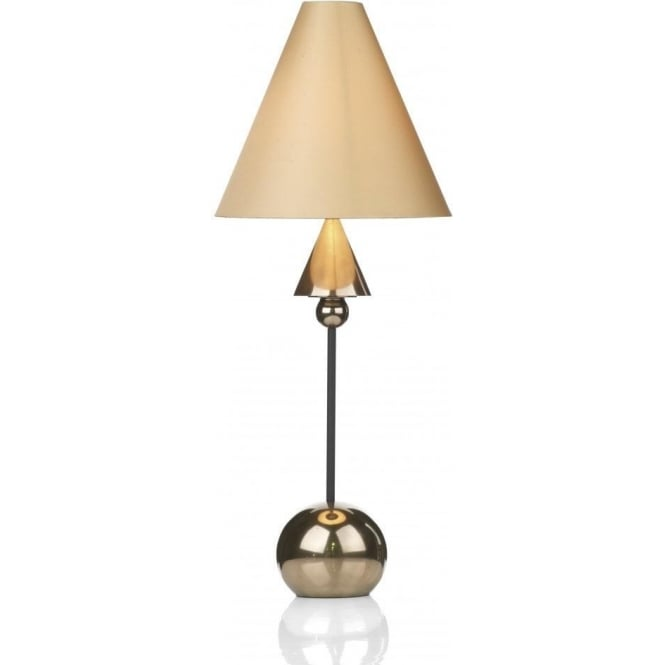Artisan Lighting SPEARHEAD bronze & black table lamp with fawn silk shade