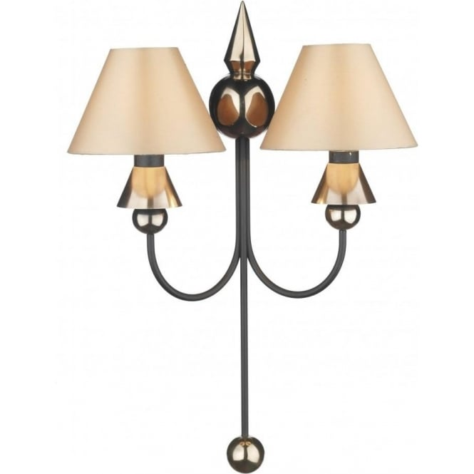 Artisan Lighting SPEARHEAD double wall light in black & bronze