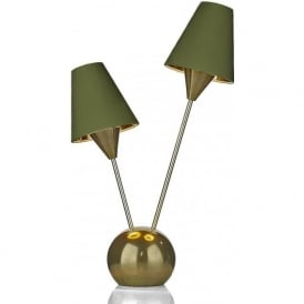 SPUTNIK modern mid-century 2 light table lamp with olive green silk shades