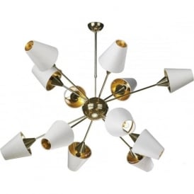 SPUTNIK modern mid-century open frame brass chandelier with ivory silk shades