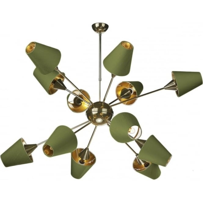 Sputnik Modern Mid Century Open Frame Brass Chandelier With Olive Green Silk Shades