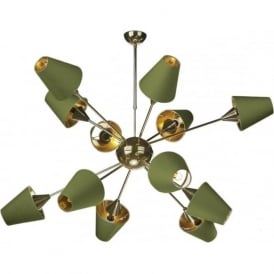 SPUTNIK modern mid-century open frame brass chandelier with olive green silk shades