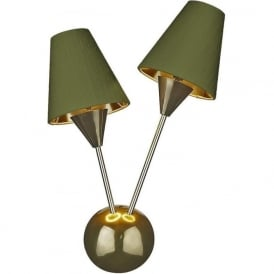 SPUTNIK modern mid-century twin wall light with olive green silk shades