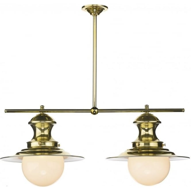 Artisan Lighting STATION LAMP 2 light brass ceiling bar suspension