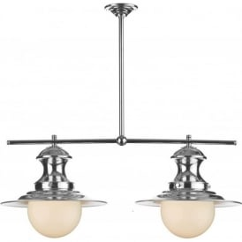 STATION LAMP 2 light chrome bar suspension for over table