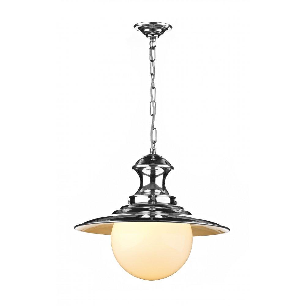 STATION LAMP Single Chrome Ceiling Pendant Light On Chain