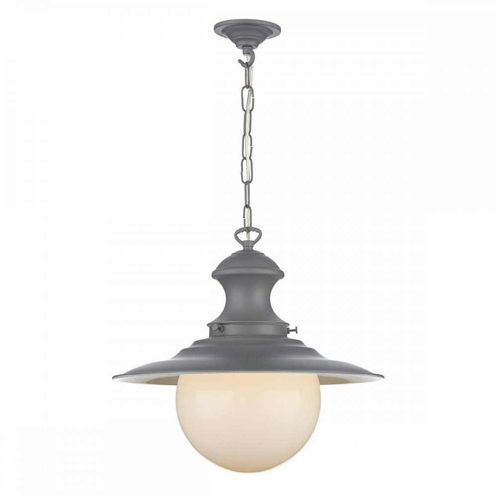 Station Lamp Ceiling Pendant Light In Lead Grey Painted Finish