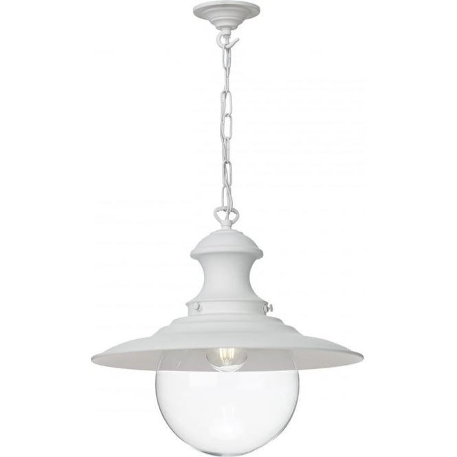 Artisan Lighting STATION LAMP replica Victorian railway hanging lantern - white with clear glass