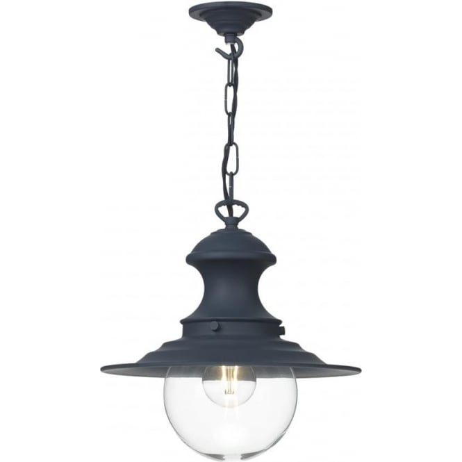 Artisan Lighting STATION LAMP small railway pendant ceiling light - smoke blue
