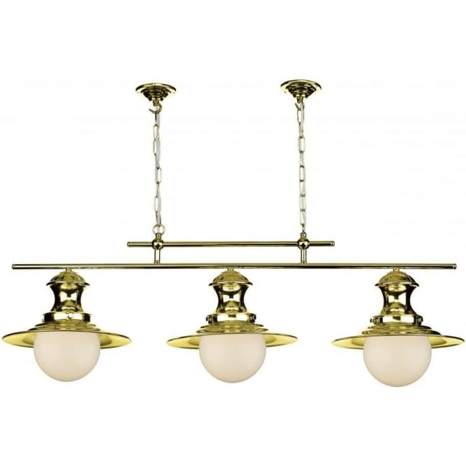 Artisan Lighting STATION LAMP triple ceiling pendant in brass finish