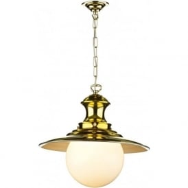 STATION LAMP Victorian brass pendant light on a chain