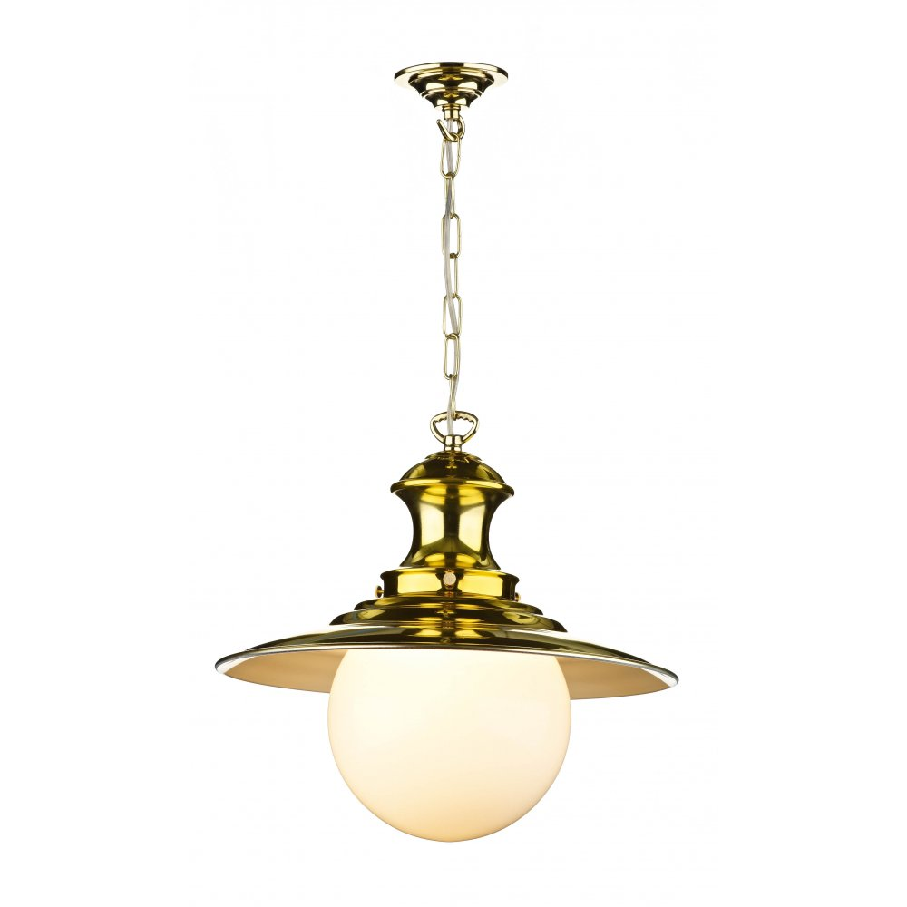 Pendant Light Victorian Polished Brass STATION LAMP